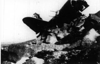 Wreckage of the B26 on Chimney Rock