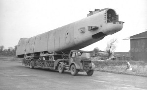 Fuselage of a Stirling en route from Long Kesh to Maghaberry. Dec 1942.