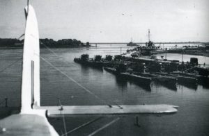 S - Surrendered U-boats at Lisahally, seen from a passing aircraft