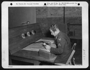 Sergeant Arnold Bohleber at the Control Desk at Toome, 21st Sept 1943