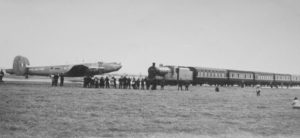 Train passing over the runway at Ballykelly